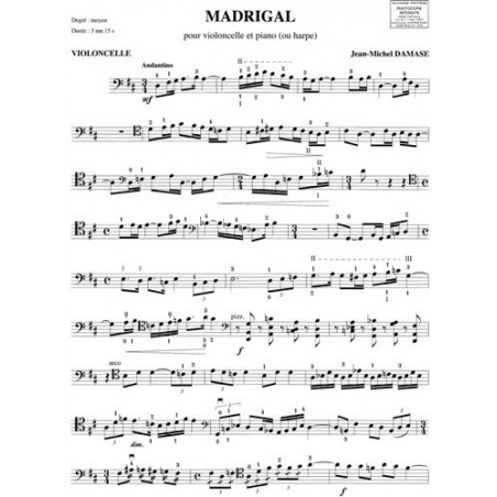 Damase Jean-Michel - Madrigal (violoncelle & harpe ou piano)
