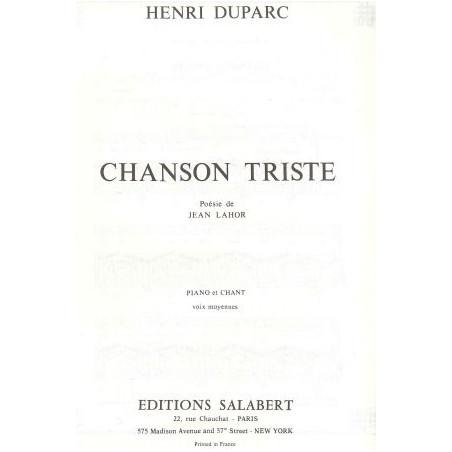 Duparc Henry - Chanson triste