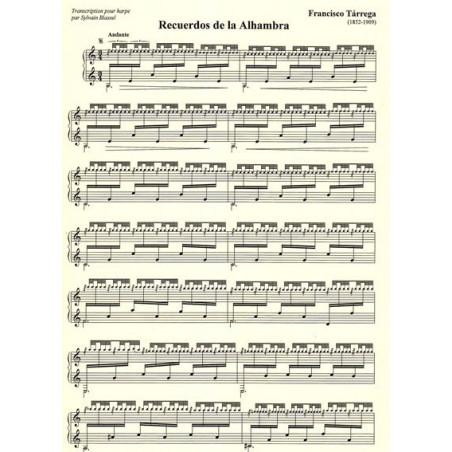 Tarrega Francisco - Recuerdos de la Alhambra <br> Transcription pour la harpe par Sylvain Blassel
