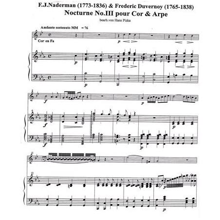 Naderman F. J. et Duvernoy F. - Nocturno III pour cor et harpe