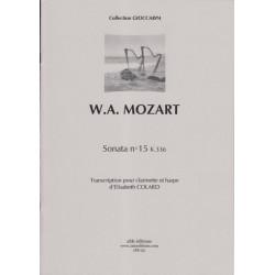 Mozart Wolfgang Amadeus - Sonata N°15 K336 (clarinette et harpe)