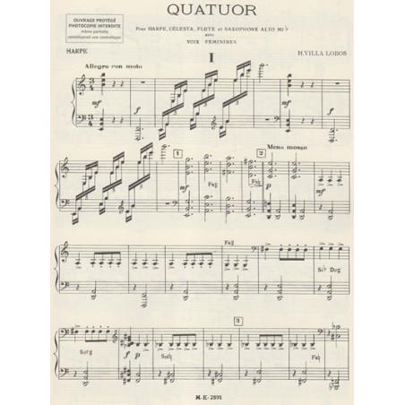 Villa-Lobos Heitor - Quatuor, parties (flûte, célesta, saxo alto & harpe)