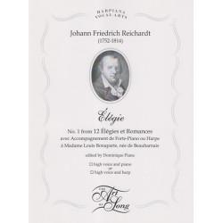Reichardt Johann Friedrich - Elégie (voix et harpe ou piano)