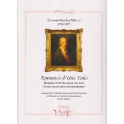 Méhul Etienne-Nicolas - Romance d'une folie (voice and harp)