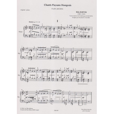 Bartok Bela - Goichon Frédérique - Chants Paysans hongrois - 4 airs anciens (alto & harpe)