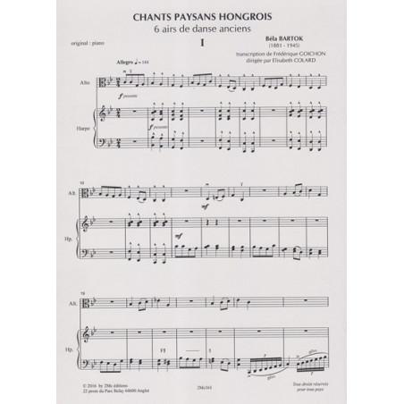 Bartok Bela - Goichon Frédérique - 6 airs de danse anciens (alto & harpe)