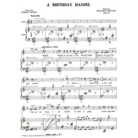 Britten Benjamin - A birthday Hansel op. 92 (voix & harpe)