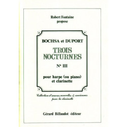Occasion - Bochsa Nicolas-Charles - Duport Louis - Nocturne n°3 (clarinette & harpe ou piano)